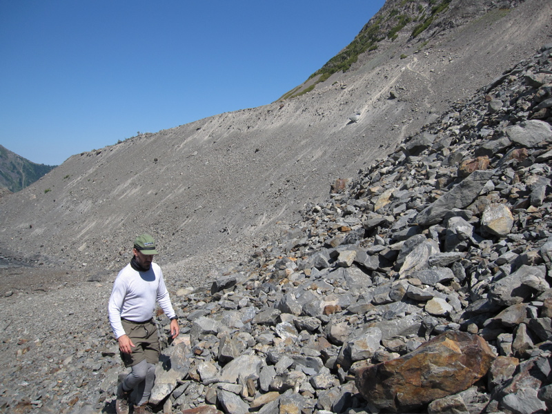 John negotiating the Lateral Moraine Scree